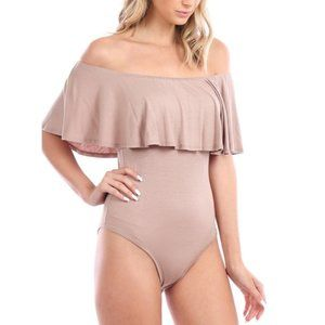 NWT Off The Shoulder Taupe Flounce Bodysuit